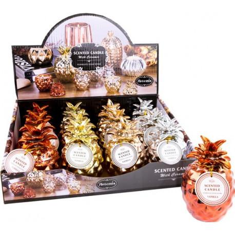 Photophore ANANAS contenant une bougie parfumée tentation cosmetic