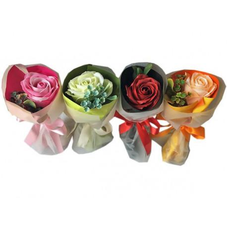 Bouquet de 1 Rose en papier de savon, 4 modèles assortis, senteur : Rose tentation cosmetic