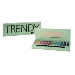Palette maquillage TRENDY, 12 couleurs, miroir et pinceau double applicateur