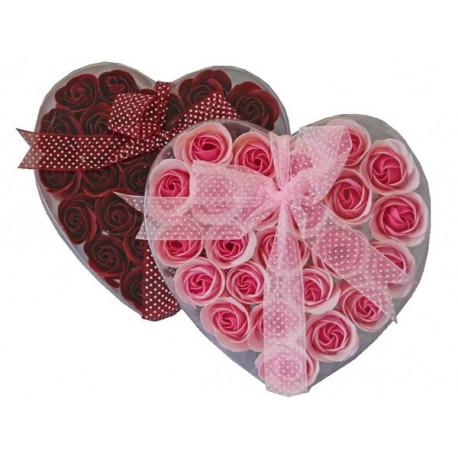 Coffret coeur de Roses en papier de savon