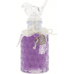 JUPITER 90ml, Violet transparent, bouchon oiseau, déco : Ruban et coeur