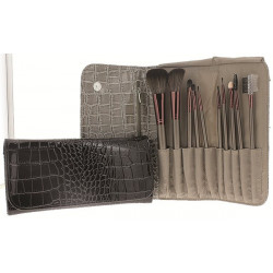 Set de 10 pinceaux maquillage dans trousse Croco (22x11x3.5 cm), 2 coul. ass