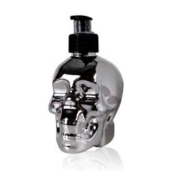 3505810-tentation-cosmetic-distributeur-savon-liquide-tete-mort-argent