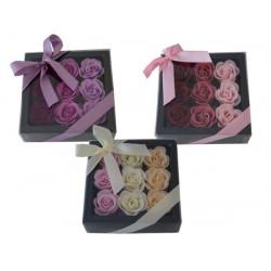 Coffret contenant 9x4g Roses en papier de savon