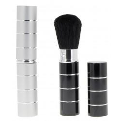 Pinceau maquillage rétractable, noir et argent assortis
