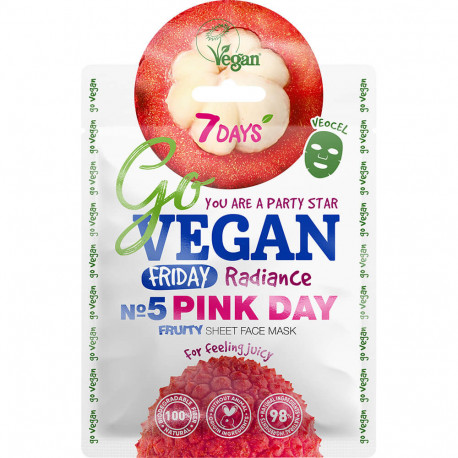 7DAYS GoVEGAN Fruity Masque soin visage en tissu Friday PINK DAY (Vendredi journ