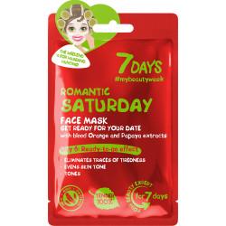 7 DAYS Masque soin visage en tissu ROMANTIC SATURDAY (Samedi Romantique)