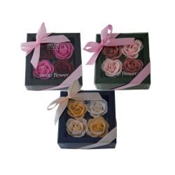 Coffret contenant 4x4g Roses en papier de savon
