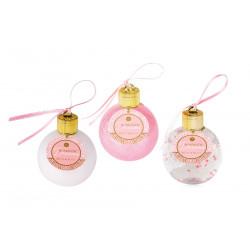 Gel douche & bain moussant BOULE Rose nacré pailleté & transparent& blanc assortis